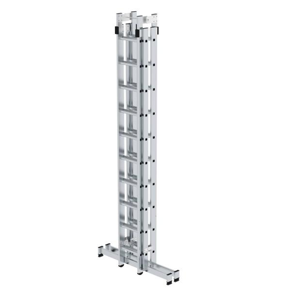 Günzburger Aluminium-Stehleiter 4-teilig mit nivello-Traverse 4 x 10 Sprossen, 33040