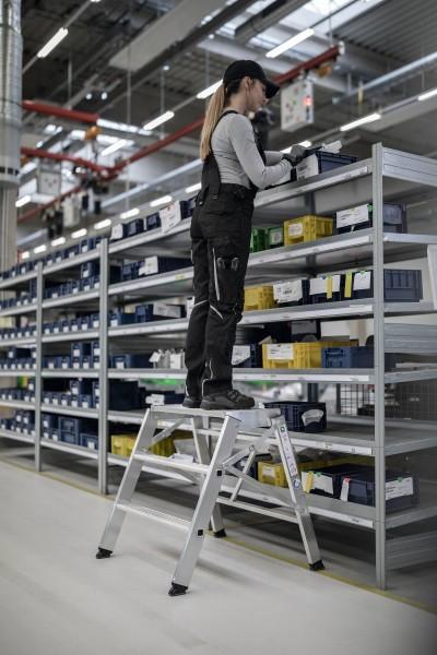 Günzburger Aluminium-Arbeitspodest klappbar, einseitig begehbar 4 Stufen, 50007