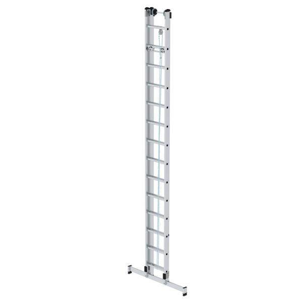 Günzburger Aluminium-Seilzugleiter 2-teilig mit nivello-Traverse 2 x 14 Sprossen, 21314