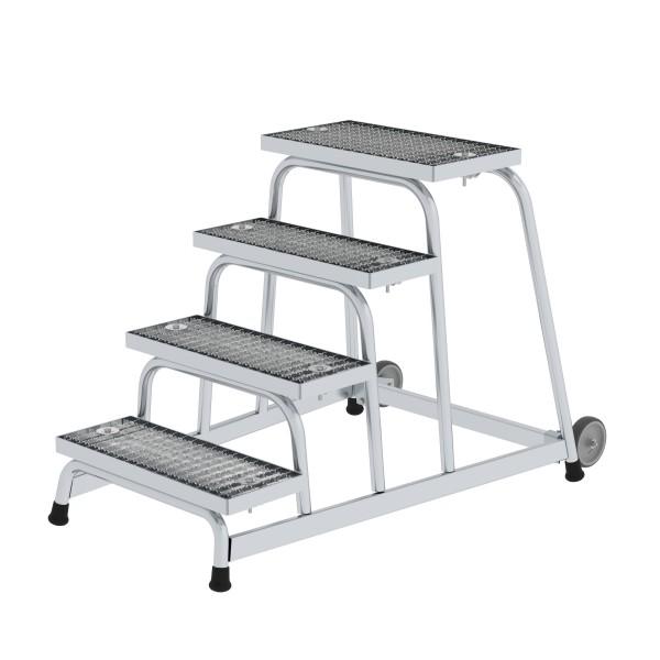 Günzburger Aluminium-Arbeitspodest fahrbar, mit Stahl-Gitterrost, 4 Stufen, 51020