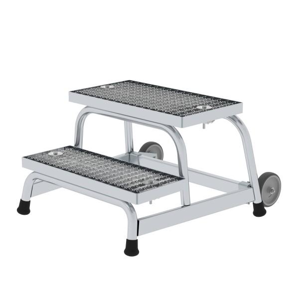 Günzburger Aluminium-Arbeitspodest fahrbar, mit Stahl-Gitterrost, 2 Stufen, 51018