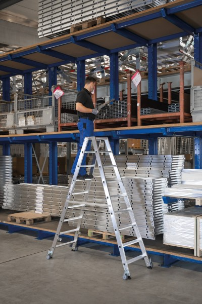 Günzburger Aluminium-Stehleiter beidseitig begehbar, mit Rollen 2x5 Stufen, 41210