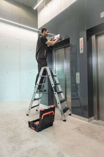 Günzburger Aluminium-Stehleiter-relax step-beidseitig begehbar 2 x 10 Stufen, 42220