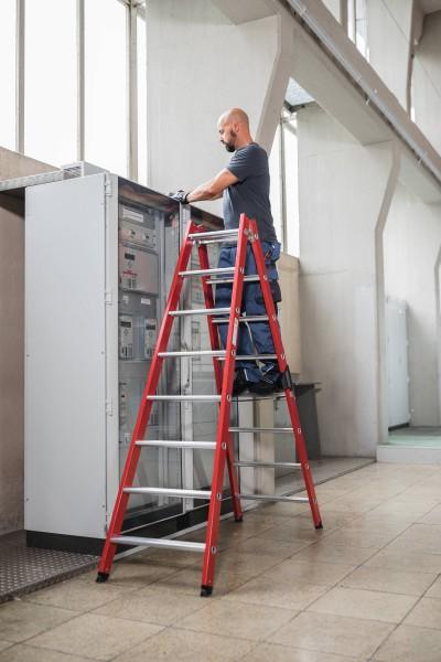 Günzburger Kunststoff-Stehleiter, 2 x 8 Stufen, 34116