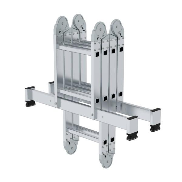 Günzburger Aluminium-Vielzweckleiter mit nivello-Traverse 2 x 2 + 2 x 3 Sprossen, 31310