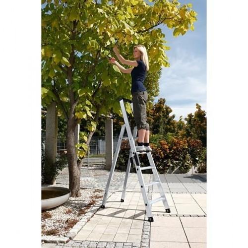 Guenzburger Aluminium-Stufen-Stehleiter einseitig begehbar 1 x 8 Stufen, 40108