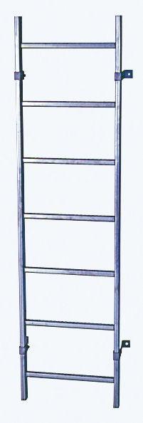 SchachtLeitern aus Stahl, feuerverzinkt, Lichte Weite 300 mm, Länge 1,96 m, Außenbreite 340 mm, 7 Sprossen, Artikel-Nr.: 815828