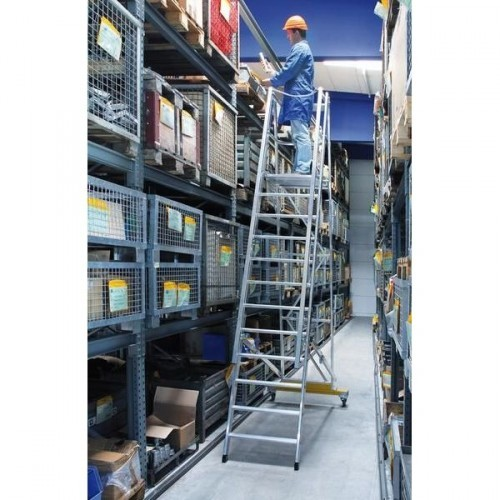Guenzburger Aluminium-Podestleiter fahrbar, klappbar, 8 Stufen, 52308