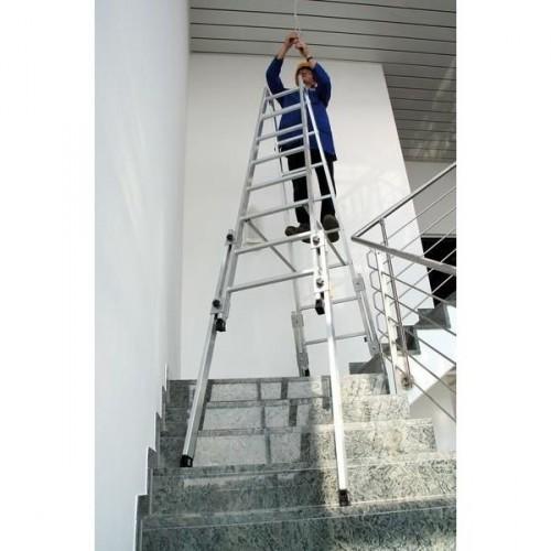 Guenzburger Aluminium-Stehleiter, treppengaengig, mit vier nach unten ausschiebbaren Holmverlaengerungen 2x8 Sprossen, 33516