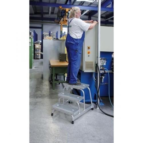 Guenzburger Aluminium-Arbeitspodest fahrbar, mit Stahl-Gitterrost, 3 Stufen, 51019