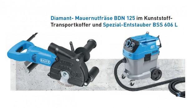 Diamant-Mauernutfräse BDN 125+Sauger BSS606L Set, 9187