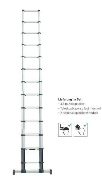 EZ Step Anlegeleiter EVO-PROLEAN II, 3,8 Meter, 13 Stufen, 100009