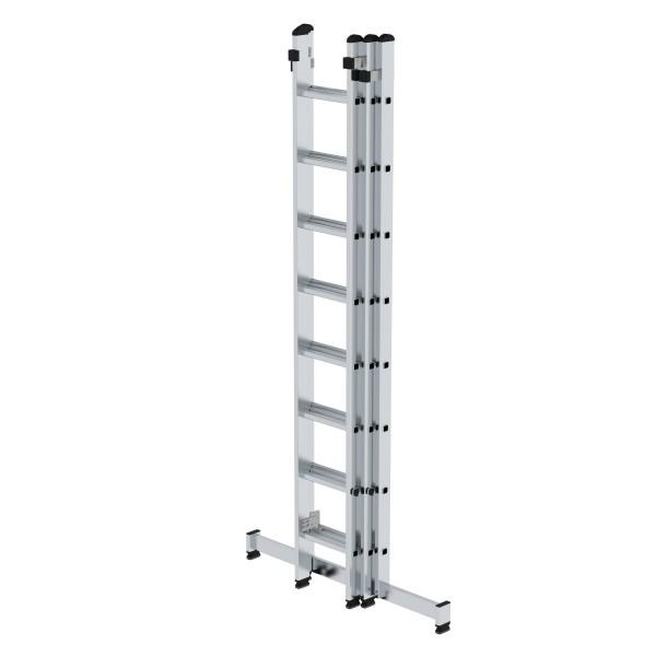 Günzburger Aluminium-Schiebeleiter mit nivello-Traverse 3 x 8 Sprossen, 20608