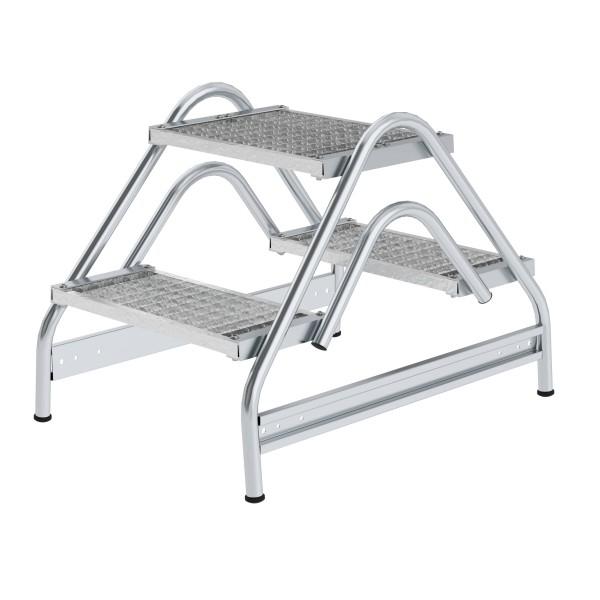 Günzburger Aluminium-Arbeitspodest beidseitig begehbar, 2 x 2 Stufen, 50062