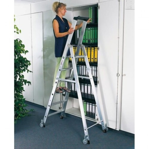 Guenzburger Aluminium-Stehleiter einseitig begehbar,mit Rollen 1 x 4 Stufen, 41104