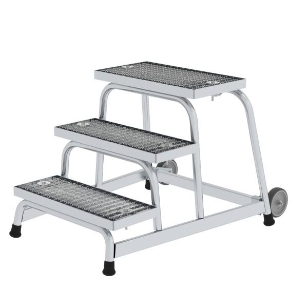 Günzburger Aluminium-Arbeitspodest fahrbar, mit Stahl-Gitterrost, 3 Stufen, 51019