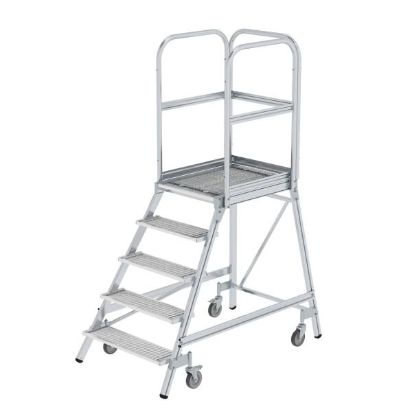 Günzburger Aluminium-Podestleiter,einseitig begehbar, 5 Stufen, 51105