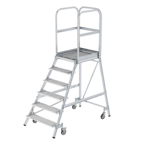 Günzburger Aluminium-Podestleiter,einseitig begehbar, 6 Stufen, 51106