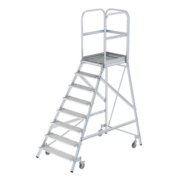 Günzburger Aluminium-Podestleiter,einseitig begehbar, 8 Stufen, 51108