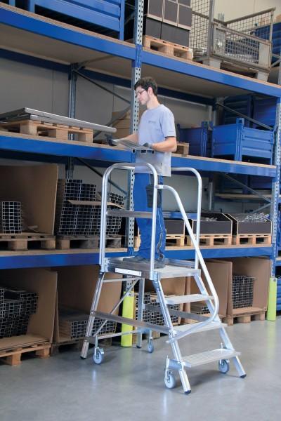 Günzburger Aluminium-Podestleiter,einseitig begehbar, 7 Stufen, 50107