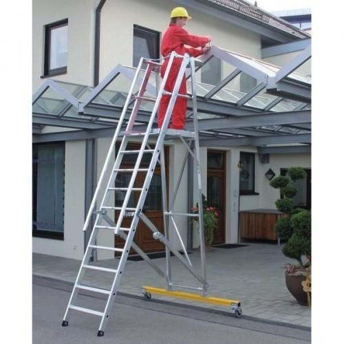 Guenzburger Aluminium-Podestleiter fahrbar, klappbar, 12 Stufen, 52312