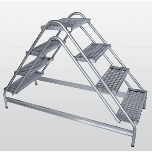 Guenzburger Aluminium-Arbeitspodest beidseitig begehbar, 2 x 2 Stufen, 50062
