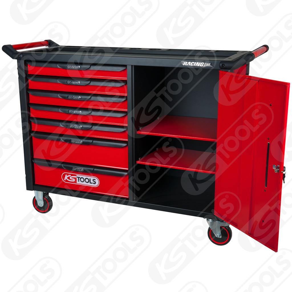 ks tools racingline schwarz rot werkstattwagen xl mit 7 schubladen und 1 t r dittmar. Black Bedroom Furniture Sets. Home Design Ideas