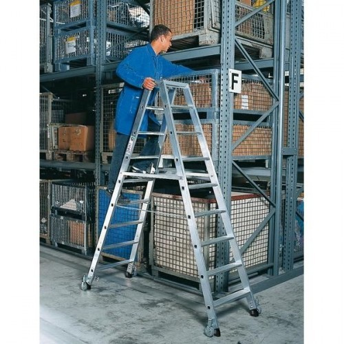 Guenzburger Aluminium-Stehleiter beidseitig begehbar, mit Rollen 2x7 Stufen, 41214