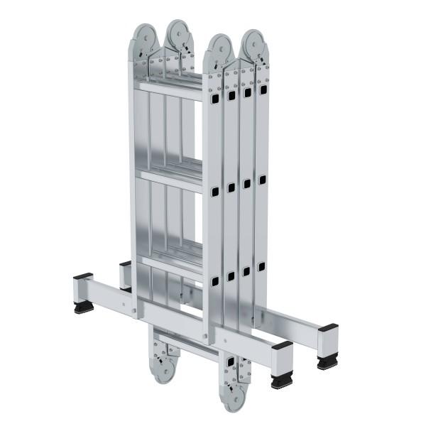 Günzburger Aluminium-Vielzweckleiter mit nivello-Traverse 2 x 3 + 2 x 4 Sprossen, 31314