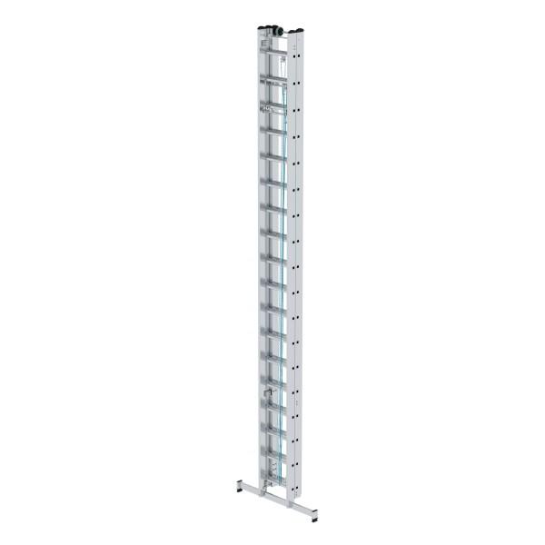 Günzburger Aluminium-Seilzugleiter 3-teilig mit nivello-Traverse 3 x 18 Sprossen, 22418