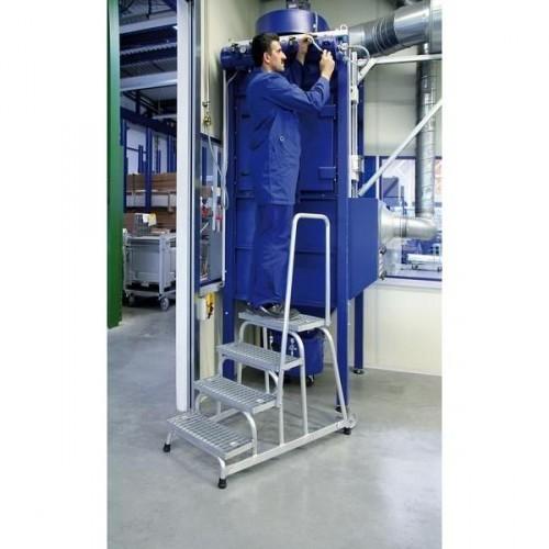 Guenzburger Aluminium-Arbeitspodest fahrbar, mit Stahl Gitterrost mit Handlauf 3 Stufen, 51023