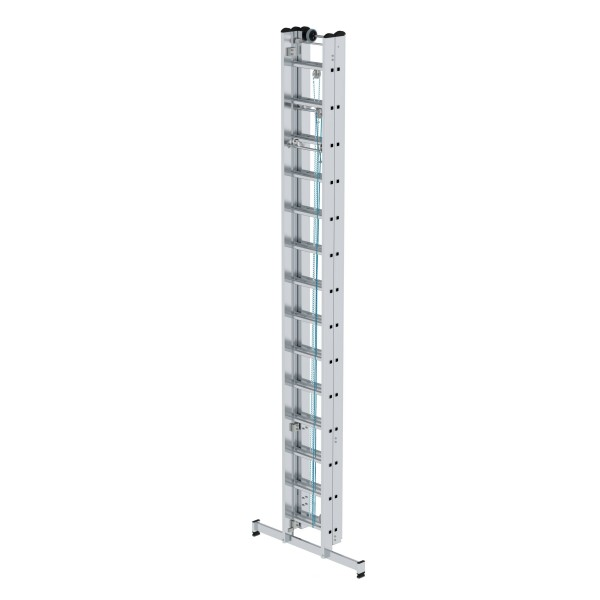 Günzburger Aluminium-Seilzugleiter 3-teilig mit nivello-Traverse 3 x 14 Sprossen, 22414