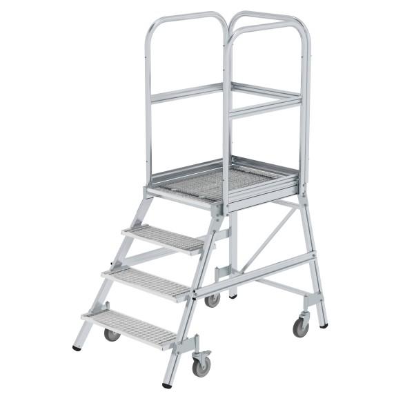 Günzburger Aluminium-Podestleiter,einseitig begehbar, 4 Stufen, 51104