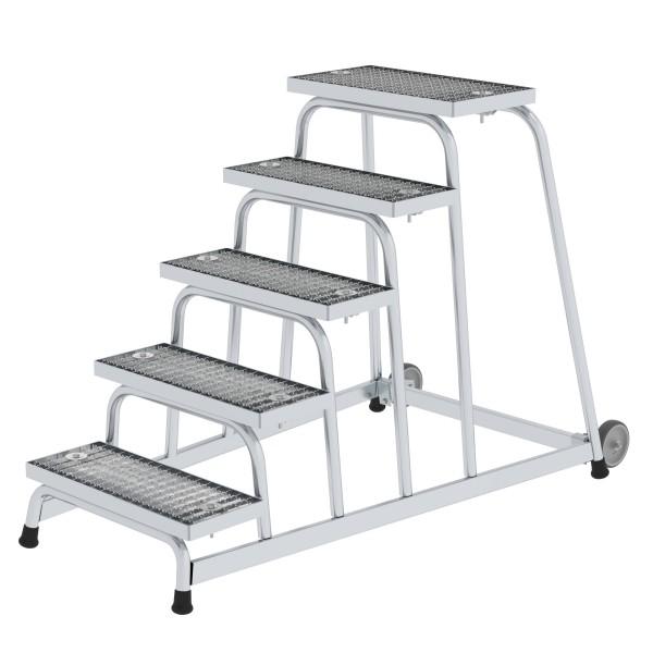 Günzburger Aluminium-Arbeitspodest fahrbar, mit Stahl-Gitterrost, 5 Stufen, 51021
