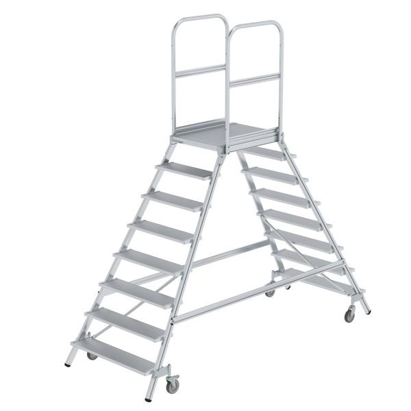 Günzburger Aluminium-Podestleiter,beidseitig begehbar, 8 Stufen, 50208