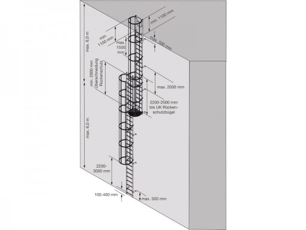 STABILO Ortsfeste Steigleiter, mehrzügig nach DIN 14122-4, Steighöhe: ca. 18,76 m, Aluminium, Artikel-Nr.: 838957