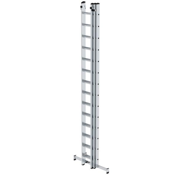 Günzburger Aluminium-Schiebeleiter mit nivello-Traverse 3 x14 Sprossen, 20614
