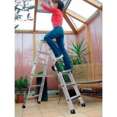 Guenzburger Aluminium-Stehleiter-relax step-beidseitig begehbar 2 x 8 Stufen, 42216