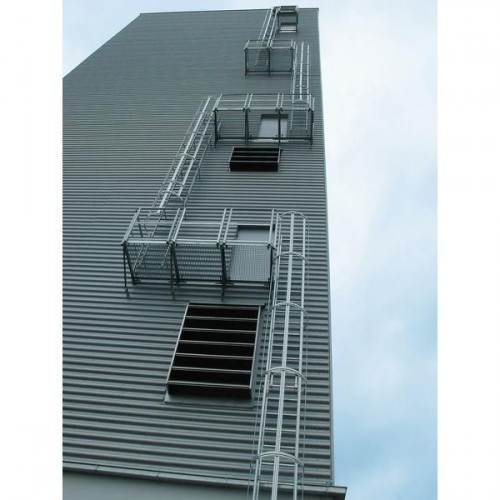 Guenzburger Mehrzuegige Steigleitern mit Rueckenschutz Aluminium eloxiert, 500255