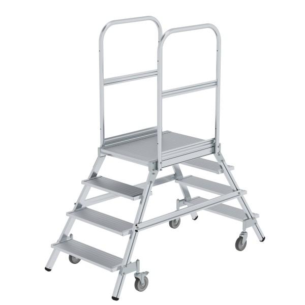 Günzburger Aluminium-Podestleiter,beidseitig begehbar, 4 Stufen, 50204