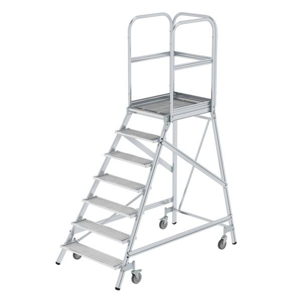 Günzburger Aluminium-Podestleiter,einseitig begehbar, 7 Stufen, 51107