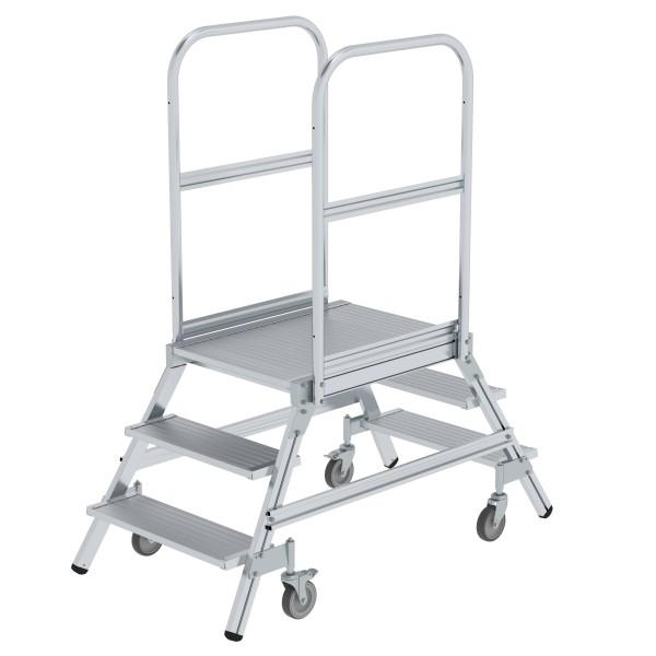 Günzburger Aluminium-Podestleiter,beidseitig begehbar, 3 Stufen, 50203