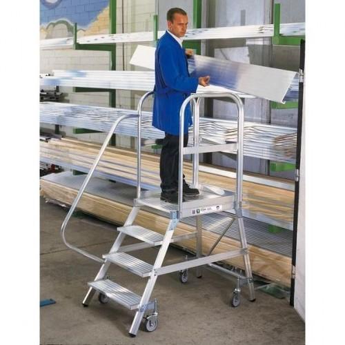 Guenzburger Aluminium-Podestleiter,einseitig begehbar, 6 Stufen, 50106
