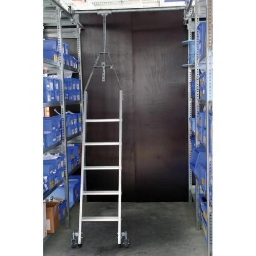 Guenzburger Aluminium-Regalleiter fuer Doppelregal drehbar, 9 Stufen, 44509
