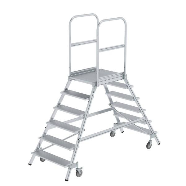 Günzburger Aluminium-Podestleiter,beidseitig begehbar, 6 Stufen, 50206