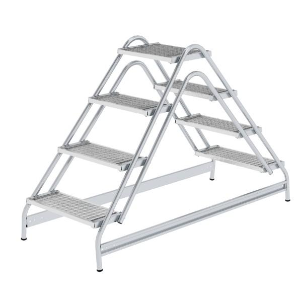 Günzburger Aluminium-Arbeitspodest beidseitig begehbar, 2 x 4 Stufen, 50064