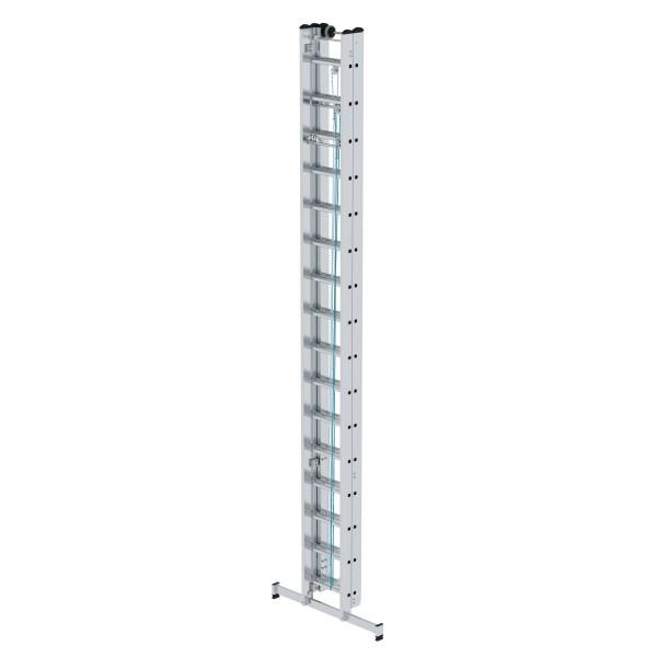 Günzburger Aluminium-Seilzugleiter 3-teilig mit nivello-Traverse 3 x 16 Sprossen, 22416