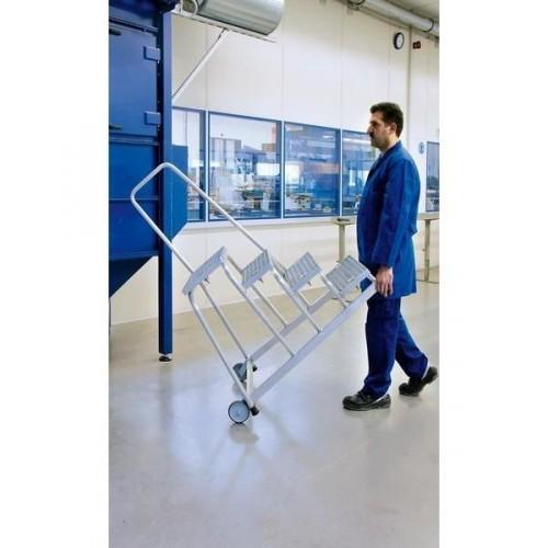 Guenzburger Aluminium-Arbeitspodest fahrbar, mit Stahl Gitterrost mit Handlauf 4 Stufen, 51024