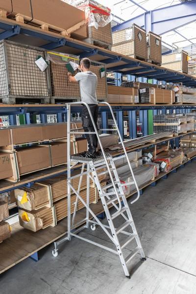 Günzburger Aluminium-Plattformleiter fahrbar, 9 Stufen, 52509