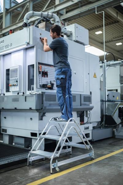 Günzburger Aluminium-Arbeitspodest beidseitig begehbar, 2 x 3 Stufen, 50060